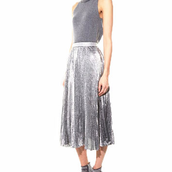 Smoves Womens Vintage 80`s Retro High Waist Metallic Accorion Pleated Skirt Autumn Satin Ankle Length Maxi Skirt GS125