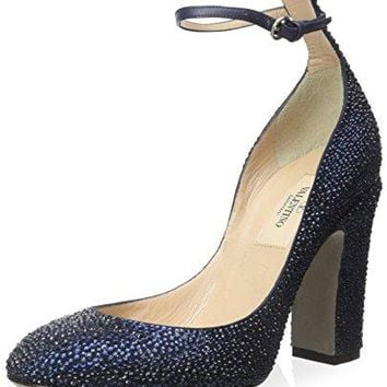 Valentino Women's Crystal Studded Ankle Strap Pump