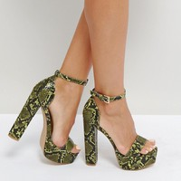 Missguided Platform Heeled Snake Print Sandal at asos.com