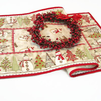 Christmas Table Runner, Snowman Table Runner