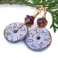 Rustic Runes Handmade Earrings, Purple Lampwork Ceramic Dangle Jewelry