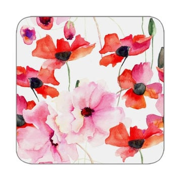 Coaster set of 4 in floral pattern in red pink color for Best coasters Printed coasters