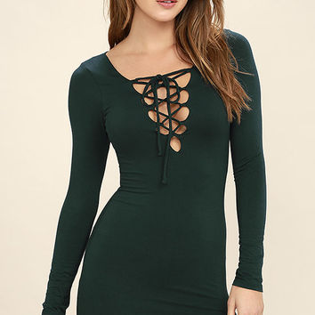 Laced Up All Night Forest Green Lace-Up Dress