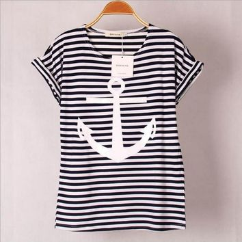 Women's Striped Nautical Ship Anchor Shirt