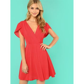 Plunging Neck Fit & Flare Dress