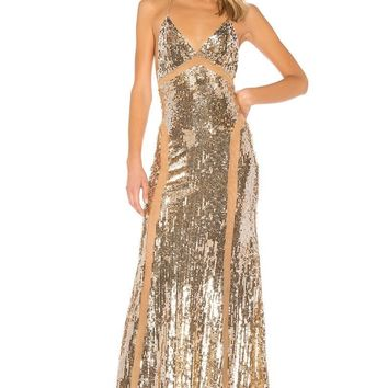 Cinnamon Sequins X-Back Maxi Dress