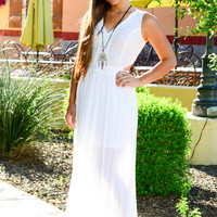 CROSS MY HEART MAXI DRESS IN WHITE