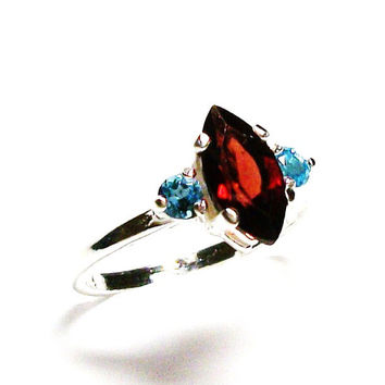 """Garnet, garnet ring, garnet accent ring, red and blue, 3 stone ring, anniversary ring, s 6 1/2 """"Let Freedom Ring"""""""