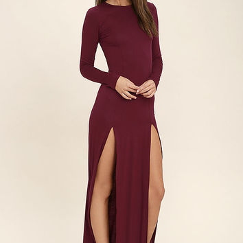 Rustling Leaves Burgundy Long Sleeve Maxi Dress