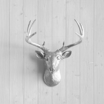 The MINI Virginia Silver Faux Taxidermy Resin Deer Head Wall Mount | Silver Stag w/ Colored Antlers