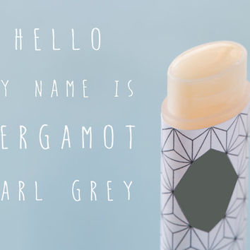 Bergamot Vegan Lip Balm Earl Grey All Natural Hand Made Lip Balm Essential oil  Aromatherapy Orange Fruit Glossy Wax Citrus Oval Tube