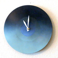 Small Wall Clock, Blue Ombre, Housewares, Home and Living, Geekery, Eco Friendly Decor, Unique Clock, Retro Clock, Unique Gift