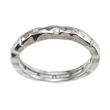Plutus Brands 925 Sterling Silver Rhodium Finish CZ Brilliant Fashion Wedding Band 0.1 Carat Weight- Size 6
