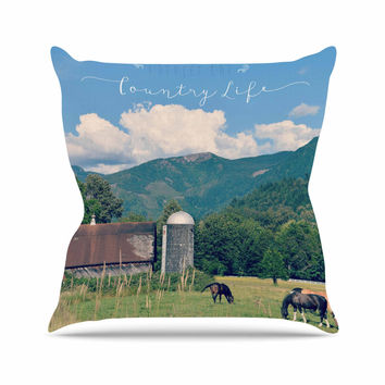 "Robin Dickinson ""Country Life"" Green Blue Throw Pillow"