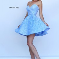 Sherri Hill 50131 Blue Floral Sweetheart Party Dress