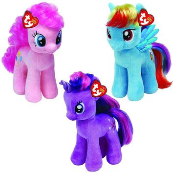 "Set Of 3 Ty My Little Pony 8"" Plush MLP Rainbow Dash,Pinkie Pie,Twilight Sparkle"