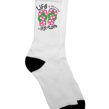 Life is Better in Flip Flops - Pink and Green Adult Crew Socks