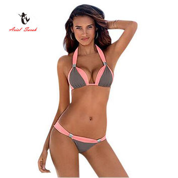 Two-Tone Flattering Bikini Set, Multiple Colors