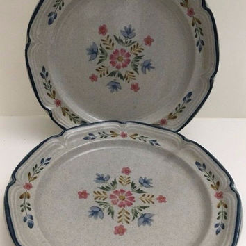 Heritage by International American Patchwork 2 Salad Plates Blue Pink Flowers