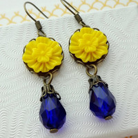 Yellow and Cobalt Blue Flower Earrings in Antique Brass.