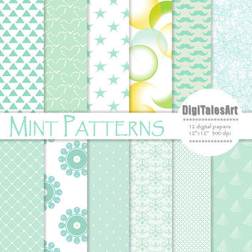 "Digital paper ""Mint Patterns"" mix digital clip art papers in mint, blue, patterns, instant download, mint background"