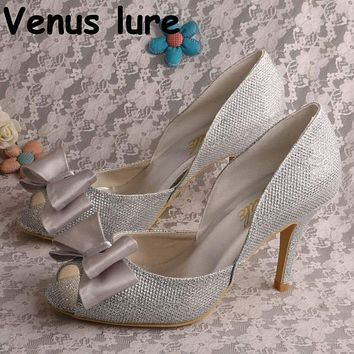 Epacket Dropship 4311002 Silver Glitter Shoes Women Peep Toe Bow Pumps with High Heel Macchar Cosplay Catalogue