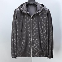 LV Louis Vuitton Newest Hot Sale Men Women Print Hoodie Cardigan Zipper Jacket Coat Windbreaker