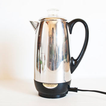 Vintage Large Farberware Percolator with Glass Knob, Superfast Chrome 12 cup Kettle, Complete and Works, Yonkers NY USA