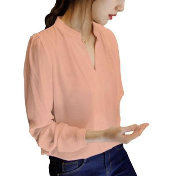 Fashion Women Long Sleeve Loose Chiffon Shirt Tops Office Lady Blouse Elegant Top