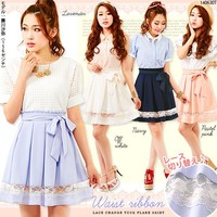 Waist part cute ribbon design♪Lace switching flare skirt