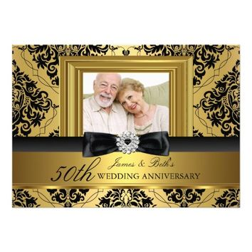 "Gold Damask & Bow Photo 50th Wedding Anniversary 2 5"" X 7"" Invitation Card"