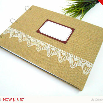 Sale - Holidays gift Fabric sketchbook journal with 200 pages-ring rustic sketchbook album- personilized journal with title a label and a bo