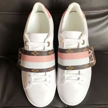 【Louis Vuitton】LV Women Trending Casual Shoes Stripe Pink White Sneakers