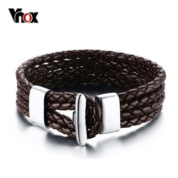 Vnox Handmade 4 layers Braided Leather Bracelet for Men Brown & Black 8 inch Fashion Jewelry