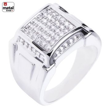 Jewelry Kay style Men's Silver Plated Micro Pave CZ Dome Square Style Pinky Hip Hop Men's Rings