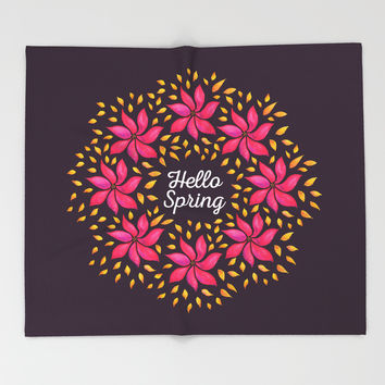 Hello Spring Watercolor Flowers Wreath Throw Blanket by borianagiormova