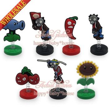 Novelty 7pcs/set Plants VS Zombies Spring Mini PVC Cartoon Figure Doll Stands Cartoon Decoration/Ornaments Party Gifts/Favors