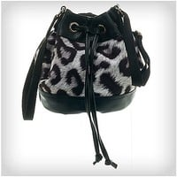 Black & White Animal Print Bucket Tote Bag - Spencer's