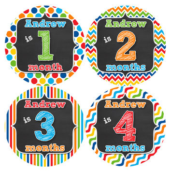 Personalized Baby Boy Monthly Stickers Style #501