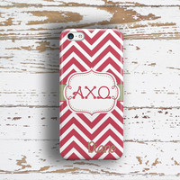 Alpha Chi Omega - Thin scarlet chevron - AXO sorority monogrammed Iphone case