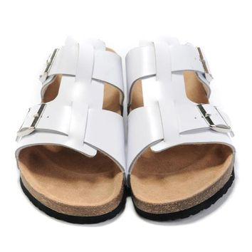 Birkenstock Leather Cork Flats Shoes Women Men Casual Sandals Shoes Soft Footbed Slippers-91
