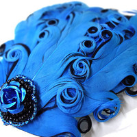 Dark Blue Feather Hair Clip by MegansBeadedDesigns on Etsy