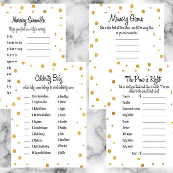Gold and white baby shower party package four piece party game set price is right word scramble celebrity baby memory game gender neutral