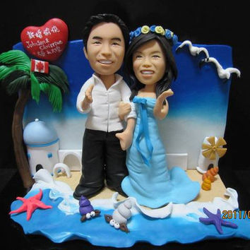 Full-Body Personalized Wedding/Proposal Cake Topper with BEACH SCENE No. 6 -20% OFF