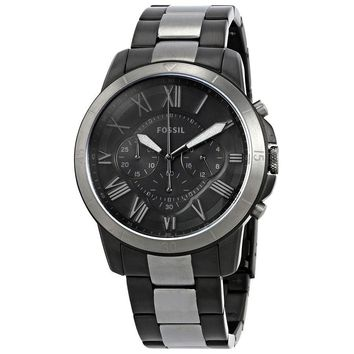 Fossil Grant Black Dial Mens Two-Tone Chronograph Watch FS5269
