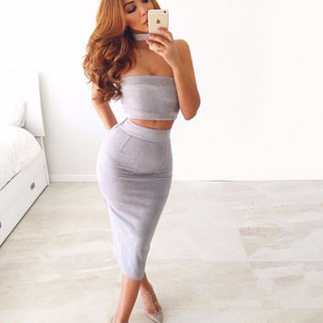 Isabella Two-Piece Suede Dress