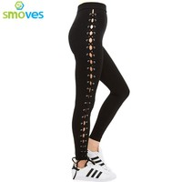 Smoves High Waist Side Lace Up Leggings Skinny Strechy Faux Leather PU Women Leggings GP25