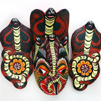 Wall mask - Hand Kaduru wood carved natural paint handmade Sri Lanka