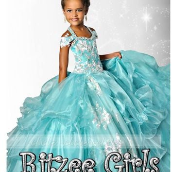 Aqua Princess Flower Girl Dresses Toddler Pageant Girl Pageant Dresses Beaded Straps Sweetheart Short Sleeves Kid Prom Ball Gown