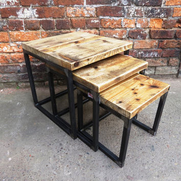 Industrial Chic Reclaimed Nest of tables. Coffee Table, side table.Steel,Wood Steel and Wood Metal Hand Made.Office,Cafe,restaurant
